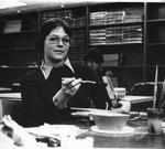 MU accounting major Jean Farrell working in library