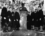 MU Student Court Justices at bust of John Marshall