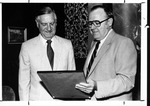 MU pres. Robert B. Hayes (r) and W. Don Morris, naming room in student center