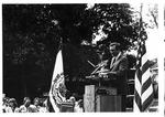 WVa Governor Jay Rockefeller speaking at Marshall, ca. 1980