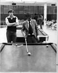 MU student Nick Varner giving pool exhibition