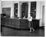 Main circulation desk, Morrow Library, ca. 1960