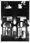 Night view, South (campus side) entrance, Morrow Library, after 1968 additions