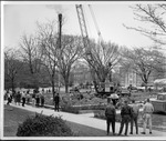 Pile driving during construction of Buskirk Hall, ca. 1965
