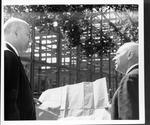 Marshall President Stewart Smith (rt) at construction of Buskirk Hall, ca.1966