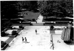 View from top of Student center showing Memorial fountain, ca. 1970's
