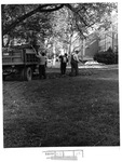Building & Grounds personnel working in front of Morrow Library