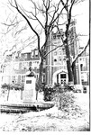 Old Main and bust of John Marshall, snow scene,