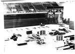 Materials on gym floor at Henderson Center under construction