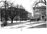 Marshall campus winter scenne, Corbly Hall on left, Northcott Hall on right