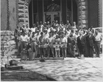 Group of Buildings and Grounds personnel, in front of Old Main