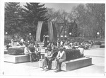 Students gathering by Memorial Fountain
