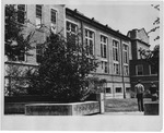 Campus side viewof Women's Gymnasium (Original Phys. Ed. Bldg), ca. 1980