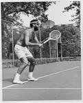 Rev. Corky King, MU campus pastor on tennis court, Oct. 1967