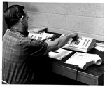 Karl Brooks, C&P, installing Centrex phone system in Smith Hall, July 1969