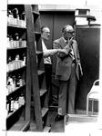 Chem. Prof James Douglass (l) & Fire Marshall George Brown in Chem lab