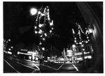 Night view of downtown Huntington Christmas lights, ca. 1970's
