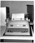IBM electric typewriter console, attached to the IBM 1620 computer, ca. 1968