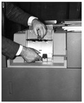 80-column punched card reader input device to Marshall's computer