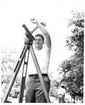Gary Mankin, Huntington Engineering junior, doing survey, 1969,