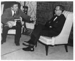 Visiting author Dr. Arthur Schlesinger, Jr. being interviewed at MU