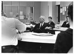 Allen Rankin, editor of Reader's Digest (center w. suit) meets MU Journalism class, 1967