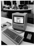 Apple MacIntoch Plus computer in Parthenon newsroom, ca. 1990