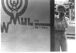 Mu student Bonita Patterson answers phone at WMUL radio, 1992-93