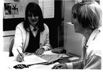MU Journalism Prof. Debra Bellluomini and student Cheryl Wilson, ca. 1992,