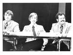 MU students Les Smith (r), patrick Clutter (c) at MU speech convocation, 1975