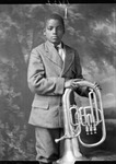 African-American youth posing with large horn