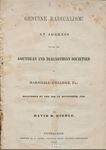 Genuine Radicalism!: An Address Before the Geothean and Diagnothian Societies of Marshall College, Pa.: Delivered on the 26th of September, 1843 by David Hunter Riddle