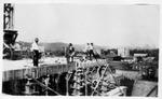 Constructing the Huntington Advertiser (newspaper) building , Huntington. 1922