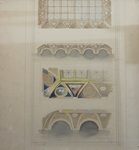 Drawing of architectural details with watercolor