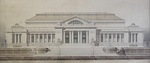 Drawing with watercolor of unidentified classical style building