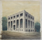 Drawing with watercolor of Huntington Publishing Company building