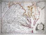 Carte de la Virginie et du Maryland dresse sur la Grande Carte Angloise de Mars. Jouse Frey et Pierre Jefferson by Robert de Vaugondy