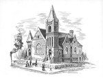 Original sketch of Fifth Ave. Baptist Church, Cabell County, Huntington, W.Va. by Irvin Dugan