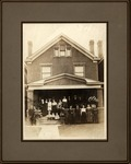 Five Seamonds sisters & family standing in front of house, 1920