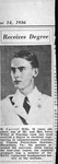 Newspaper picture of H. Carvel Willey, when he graduated from VPI, June 1936
