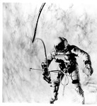Astronaut Edward H. White performing his space walk in orbit, June 3, 1965 by NASA