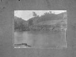 Unidentified location, derrick/dredge in river.