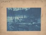Unidentified location, two boys on a fallen log