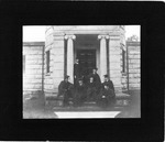 Willis H. Franklin & others in front of observatory, Allegheny College, ca. 1903